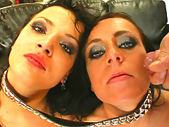 Two Sexy Brunettes Get Facialized Af.. sexy fucking facial