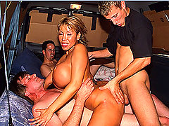 Three dolls in van wild orgy