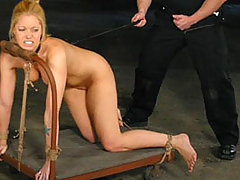 Submissive Blonde Hogtied And