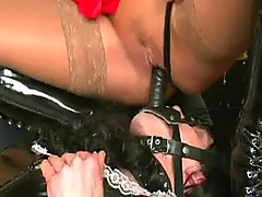 Two Mistresses Fuck Sissy Guy Up His.. tight strapon fucking