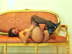 Asian Masturbates stocking solo