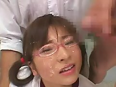 Spectacled Japanese Cutie Takes Sper.. sperm shower japanese