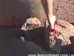 Blonde Chick Stroking Footjob