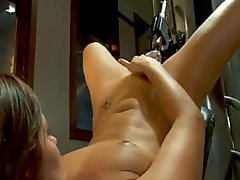 Blond girl machine fucked
