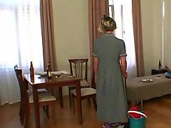 Young guy bangs mature cleaning lady