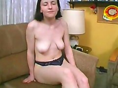 Pale amateur girl with her dildo
