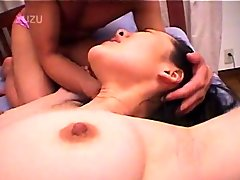 Pale Asian girl with two guys