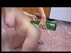 Pregnant amateur wine bottle