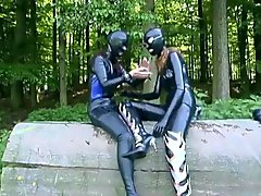 Latex bodysuit girls fooling