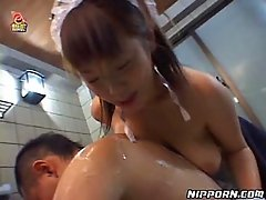 Asian maid lets her