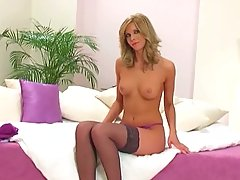 Hot blonde milf strips
