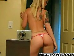 Blonde emo teen strip