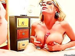 Busty sex teacher Kristal Summers bends over,fucks her student