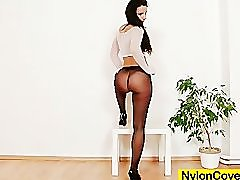 Sharon nylons fetish dildo masturbation video