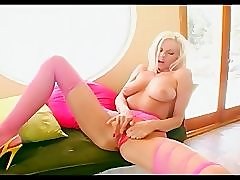 Ripped up pink pantyhose and panty masturbation