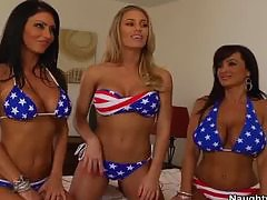 Three busty hot friends seduce their friends brother