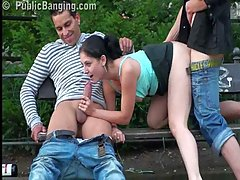 Public threesome sex on