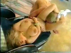 Blondie action. Big-tittied skank