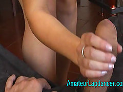 No Sound 20 y o  amateur Sandra lapdance and blow job. This blonde f..