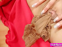 Leggy Kitty Jane hidding pantyhose in her pussy. Super hot leggy bru..