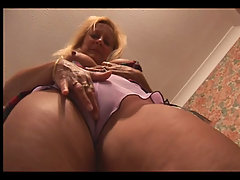 Busty mature blonde upskirt