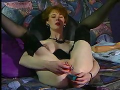 Anita Feller solo ass fisting. German woman with pierced pussy dildo..