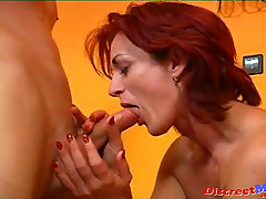 Slutty MILF Cuckold Husband and Young Neighbor. Redhead sexy mature ..