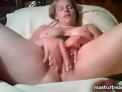 Milf Slut stuffing pussy with fingers and dildo. Cuckold MILF 34 yea..