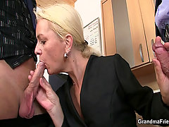 She sucks and fucks two cocks at job interview. She sucks and fucks ..
