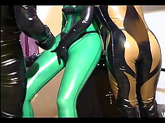 Slave girl gets taken by a horny couple. Dominant couple in latex ou..
