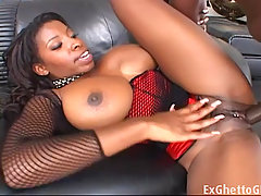 Black monster tit babe fucked. Ebony babe with enormous tits takes a..