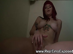 Busty redhead horny at the laundry. An amazing emo babe with huge bo..