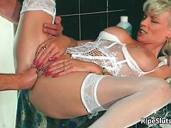 Gorgeous mature blonde gets pierced. Gorgeous mature blonde gets pie..