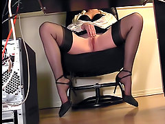 Leggy secretary fingering at the office in nylons. Secretary fingeri..