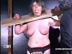 Helpless sub cant bare the pain. Poor chunky girl almost starts to s..