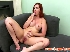 Euro girlnextdoor masturbates and sucks cock