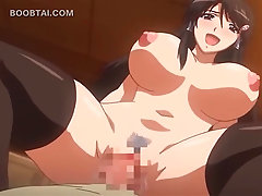 Big titted anime sex bomb jumps dick on the floor