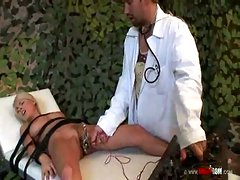 Bound girl electrocuted and