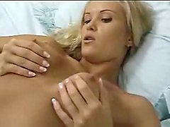 Blonde masturbates hard in