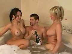 Party In Bathroom Turns Threesome. tattoo drunk