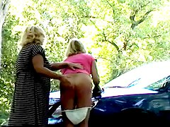 Sissy Spanked Over The Hood Of Car