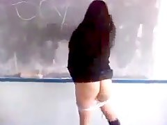 girl Mooning While in Classroom
