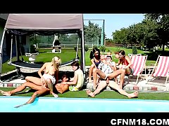 Seven teenagers enjoy CFNM sex action by the pool