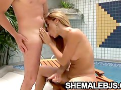 Sexy shemale Kamila Smith taking in a cock