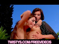Pair of beautiful brunette GFs enjoy eating each-other out