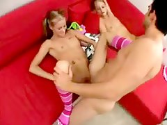 Twin girls suck his cock and get fucked