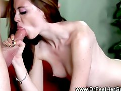 blowjob doctor, amateur, brunette, oral