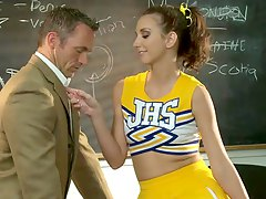 Shaved cheerleader sex in classroom