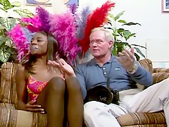Black glamour girl get fucked by an old white cock